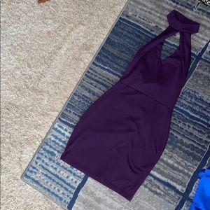 Short keyhole halter neck dress